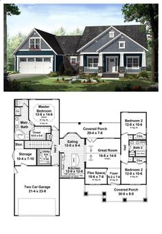 Country House Plan 55603 | Total living area: 1637 sq ft, 3 bedrooms 2 bathrooms. #houseplan #country