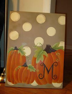 canvas painting:pumpkins with initial and polka dot background
