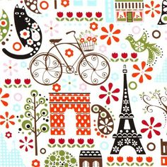 white Timeless Treasures fabric Paris Eiffel Tower flower (per 0.5m multiple): Amazon.co.uk: Kitchen & Home