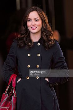 Actress Leighton Meester films a scene on location at the 'Gossip Girl' film set at the Empire Hotel on October 19, 2009 in New York City.