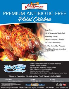 Midamar Halal Air Chilled All Natural Antibiotic Free, Cage Free Chicken. Air Chilling cools the chicken without the use of water. The chicken is tender and juicy. No water retention or cross contamination. Cleaner. Sustainable. This is how chicken should be. www.midamarhalal.com