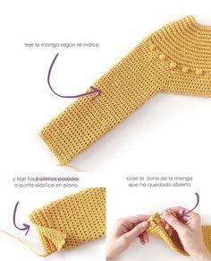 Crochet and Fabric Dress - Prehistoric Dress [ FREE Pattern & Tutorial ] Hdc Crochet, Crochet Stitches, Crochet Bikini, Crochet Patterns, Crochet Hats, Crochet Girls, Crochet For Kids, Bobble Stitch, Baby Sweaters