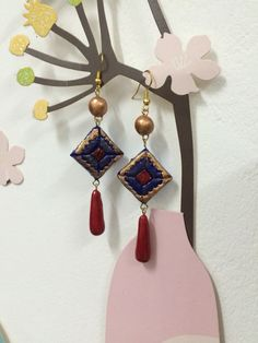Blue and red Terracotta earring