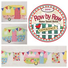 """our 2016 row for the Row By Row Experience is called, """"Glamping Sweet Glamping. House Quilts, Baby Quilts, Quilting Projects, Sewing Projects, Sewing Ideas, Sewing Hacks, Applique Patterns, Quilt Patterns, Sewing Patterns"""