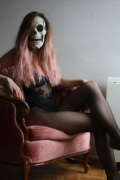 Scary & Sexy Halloween costume in the same time. Easy to do it yourself, just put on transparent bodysuit + fishnet panties & skull mask and your party costume is ready - # transparentbodysuit Sexy Halloween Costumes, Halloween Skull, Diy Costumes, Body Suit Outfits, Sexy Outfits, Black Bodysuit Outfit, Long Pink Hair, Skull Mask, Fishnet