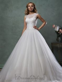 Sleeveless Bateau Neckline Beaded Bodice A-line Wedding Dress