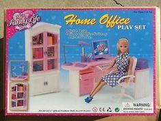 GLORIA FURNITURE DOLLHOUSE HOME OFFICE Shelf + Desk + Chair PLAYSET FOR BARBIE   eBay