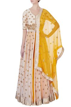 Yellow embroidered kurta lehenga set