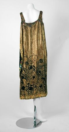 1920's French Beaded Rhinestone Metallic-Gold Floral Lame Flapper Dress | From a collection of rare vintage evening dresses at https://www.1stdibs.com/fashion/clothing/evening-dresses/