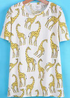 96d8d41bf63a White Short Sleeve Giraffe Print T-Shirt 13.33 Giraffe Print