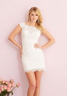 Allure Romance Wedding Dresses - Search our photo gallery for pictures of wedding dresses by Allure Romance. Find the perfect dress with recent Allure Romance photos. Wedding Dress Sash, Wedding Dresses Photos, Wedding Dress Styles, Wedding Gowns, Lace Wedding, Bridal Lace, Bridal Style, Allure Bridals, Short Wedding Dresses
