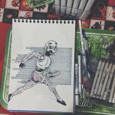 Run Away.  #sketch #skull #ink #illustration #coloring #copic #runaway Dark Artwork, Running Away, Copic, Horror, Coloring, Sketch, Skull, Ink, Illustration