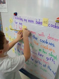 ED and ING endings... Great idea for a shared word-work activity... Better than the white board because it can be used over and over. #wordendings