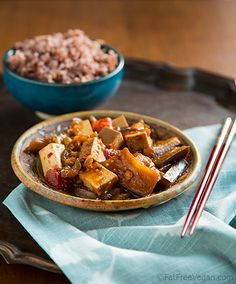 Eggplant and Tofu in Spicy Garlic Sauce: In this vegan, Szechuan-inspired dish, eggplants and tofu are cooked in a spicy garlic and ginger-infused sauce. Vegetarian Recipes, Cooking Recipes, Eggplant Recipes, Spicy Eggplant, Vegan Eggplant, Vegan Main Dishes, Vegan Dinners, Tofu Meals, Veggie Meals