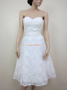 Robes de mariée courte en dentelle avec ceinture