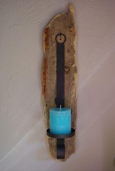 Wand-Kerzenhalter mit Treibholz von Driftwood & Stones auf DaWanda.com