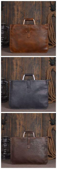 Handmade Vintage Leather Briefcase Men's Business Handbag Laptop Bag in Vintage Brown 14131