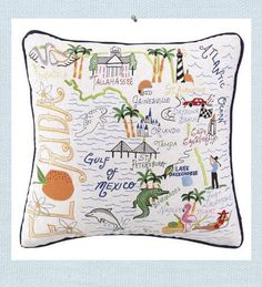 Florida Pillow. Welcome to Florida. Intricate embroidered details from the West Coast to the East Coast of Florida and inland destinations are created. Commemorate a special vacation or pay homage to your home state. Or place in the guest room of your Florida home for a unique visitors guide. Linen pillow is filled with a feather insert.