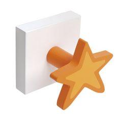 perchero estrella madera lacada naranja sobre base blanca
