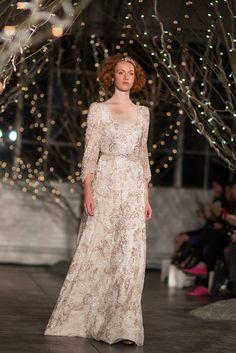 sleeved gown with applique by http://www.jennypackham.com #WeddingDress #Fashion Photography: Daniel Dorsa - danieldorsa.com/