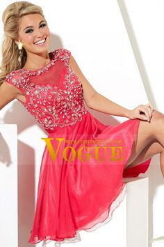 2015 Splendid Chiffon&Tulle Homecoming Dress Bateau A Line Short/Mini With Beads And Embroidery