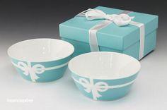 *TIFFANY & CO BONE CHINA Blue Bow Ribbon Bowl set of 2cup w/ gift box From Japan