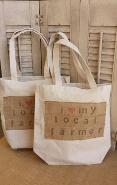 Farmer's Market Tote / cotton canvas grocery bag / natural burlap / reusable tote / grocery tote bag / farm chic / urban style