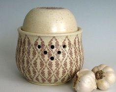 Ceramic Garlic Keeper Jar  Hand Thrown Stoneware by JustMare, $36.00