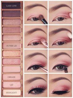 Trendy makeup tutorial ojos urban decay make up Pink Eye Makeup, Simple Eye Makeup, Pink Eyeshadow, Basic Makeup, Beauty Makeup, Urban Decay Makeup, Make Up Palette, Pink Palette, Smokey Eyeliner