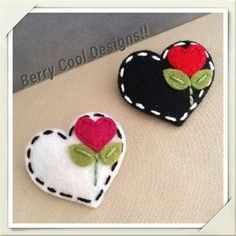 Items similar to Sweet Heart White or Black Wool Felt Baby Snap Hair Clip ( Pick One ) on Etsy Felt Flowers, Fabric Flowers, Fabric Crafts, Sewing Crafts, Valentine Crafts, Valentines, Felt Baby, Felt Decorations, Felt Christmas Ornaments