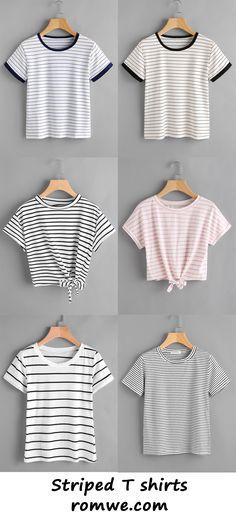striped t shirts 2017 - romwe.com