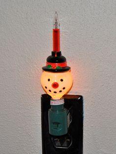 Vintage Bubble Lite NIGHT LIGHT Christmas Snowman Swivels Red Glitter #GKIBethlehem
