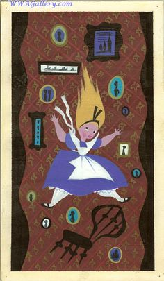 Original Mary Blair concept painting of Alice and the Card Guards from Disney Studios' Alice in Wonderland (1951)