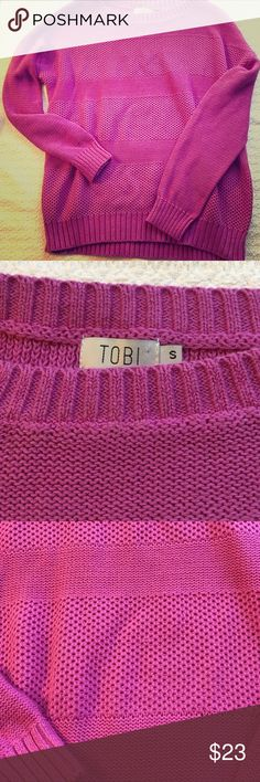 Tobi fuchsia warm sweater :)NWOT Soft bright sweater, oversized and cozy. Never worn! Tobi Sweaters Crew & Scoop Necks