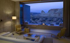 Amangiri resort Utah fireplace. Discreet fireplaces at the Amangiri resort in Utah help counter evening chill without distracting from the sweeping views towards the Grand Staircase rock formation. The property is located on 600 acres of land in Canyon Point.