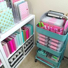 Raskog cart organization: I know everybody shows off their carts here on IG, but I thought I would show mine! I don't keep too many things in it except for my washi tape storage, markers, and my craftsman tote that holds my Etsy stickers and hole punches. Planner Organization, Craft Organization, Sticker Organization, College Organization, Organizing Ideas, Deco Cool, Ideas Para Organizar, Craft Room Storage, Craft Rooms
