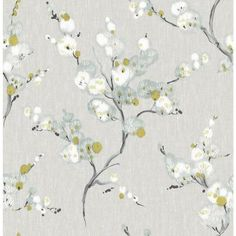 Brewster Home Fashions Mistral Bliss Blossom L x W Floral and Botanical Wallpaper Roll Color: Blue Plant Wallpaper, Wallpaper Roll, Peel And Stick Wallpaper, Asian Wallpaper, Bathroom Wallpaper, Wallpaper Shelves, Vinyl Wallpaper, Blue Floral Wallpaper, Botanical Wallpaper