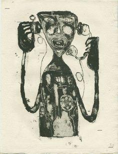 Jean Dubuffet (French, 1901-1985),La supplice du téléphone[The torture of the telephone], 1944. Lithograph on Auvergne paper, 33 x 25.1 cm.