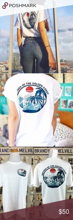 NWT native of the golden coast Brandy Melville tee *the first few pics are not mine- found them online* NWT RARE native of the golden coast tshirt. The back graphic is huge while the front graphic is smaller in the front corner of the shirt. It's one size Brandy Melville Tops