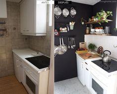 cambiar un espacio con muy poquitos cambios. el antes y después de una pequeña cocina negra.