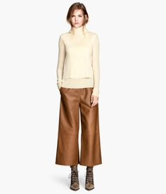 H&M wide leg leather trousers