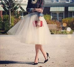 Gonna lunga in tulle bianco