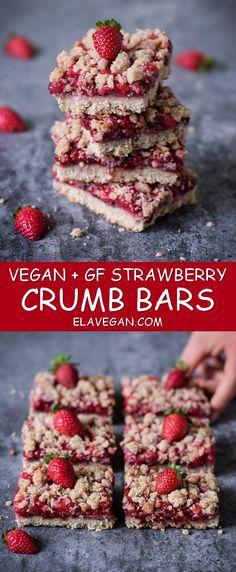strawberry crumb bars vegan gluten free Pinterest