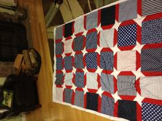 back of American flag quilt