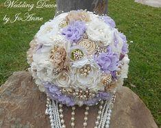 Custom Brooch Bouquet Pink and Silver by Elegantweddingdecor
