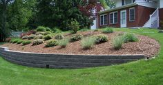Beautified slope with retaining wall and planting