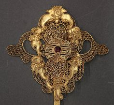 """Chinese filigree hair pins, one featuring flowers and the other with bats encircling a shou medallion, 7.25""""l"""
