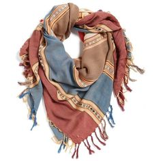 Women's Bp. Stripe Fringe Square Scarf ($17) ❤ liked on Polyvore featuring accessories, scarves, tan multi, striped shawl, square scarves, print scarves, lightweight scarves and fringe shawl