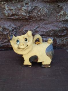 Hino Clay Art Pig Bell SIGNED and Dated