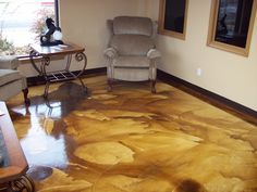 DCI Smooth White Concrete Overlay, Coffee Brown and Malayan Buff Acid Stain. I want to do this someday!